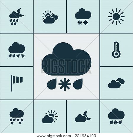 Air icons set with sunset, moonlight, snowfall and other mainly cloud elements. Isolated  illustration air icons.