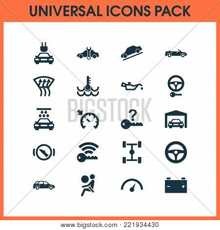 Auto icons set with hatchback, vehicle, control and other safety elements. Isolated  illustration auto icons.