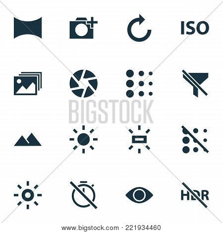 Picture icons set with shine, no filter, photographing and other hdr off elements. Isolated  illustration picture icons.