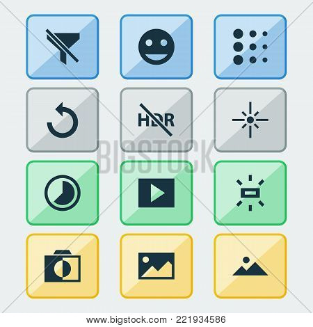 Photo icons set with no filter, picture, brightness and other accelerated elements. Isolated  illustration photo icons.