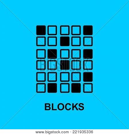 Block chain flat icon. Blocks symbol. Vector Illustration. Block Chain Technology Concept.
