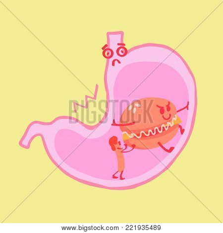 Harmful food stretches the stomach. Cartoon food in the section of the stomach. The stomach is saddened by bad food. The stomach is heavy and painful.
