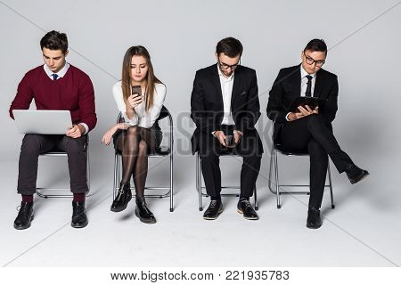 Stressful Moment For People Wait In Queue. Nervous Candidates For Prestigious Job Wait With Anxiety