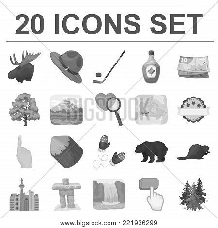 Country Canada monochrome icons in set collection for design. Canada and landmark vector symbol stock  illustration.