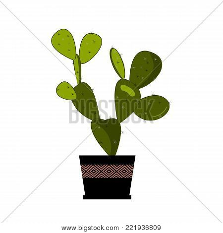 Prickly pear cactus in pot, traditional Mexican plant. Cactus flat vector illustration on white. Home flower in pot. Opuntia or prickly pear icon. Home plant vector