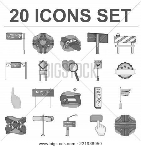 Road junctions and signs monochrome icons in set collection for design.Pedestrian crossings and signs vector symbol stock illustration. poster