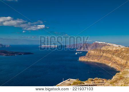 Typical Santorini island view facing the center of volcano, Nea Kameni, Cyclades