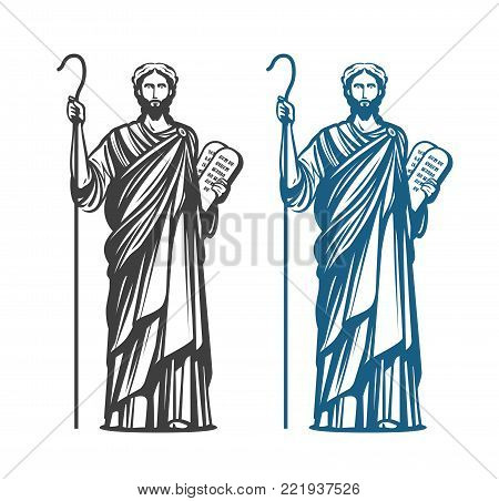 Moses holds in hand two stone with ten commandments. Judaism religion, Jewish prophet symbol