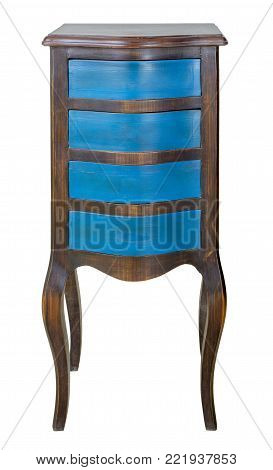 Vintage Furniture - Retro wooden antique four drawer chest painted in blue and dark brown isolated on white background including clipping path
