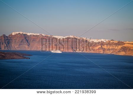 Santorini view facing other side of the crater with Fira city, Cyclades, Greece