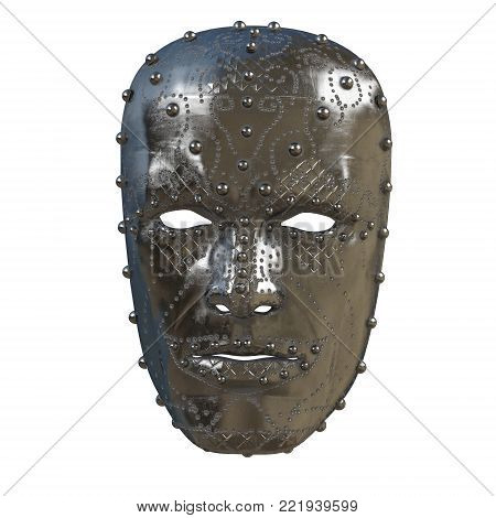 iron fantasy mask on face with patterns . 3d illustration