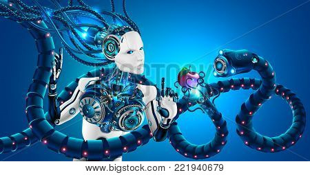 Beautiful robot woman with human face in profile, mechanical hands. Head of robot and artificial brain are connected by cables to cybernetic system. Artificial intelligence subjected to cyber attack.