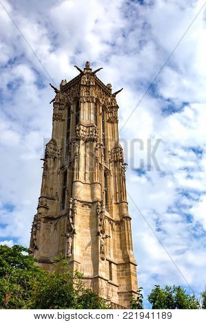 Saint-Jacques Tower or Tour Saint-Jacques in Paris, France. This 52 m Flamboyant Gothic tower with the statue of Blaise Pascal is located at the base of the tower
