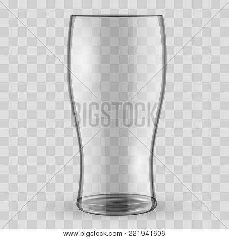 Transparent Beer glass vector illustration. Vector transparent beer mug. Realistic 3d beer glass isolated vector illustration