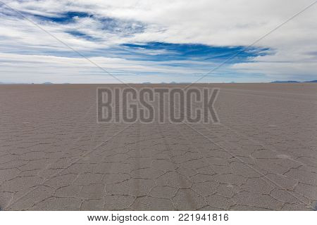 Salar de Uyuni. Salar de Uyuni. landscape, extensive view to the horizon at sunset. Bolivia. Stock photo