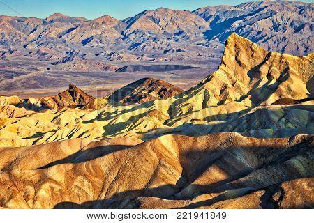 Zabriskie Point in Death Valley, lowest point in USA.