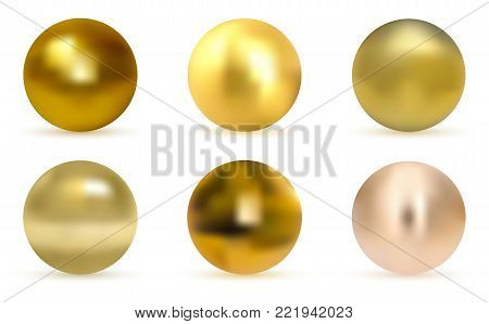 Gold  glossy sphere set isolated on white. Vector golden ball. Realistic gold sphere. Set of  pearls isolated on white background, illustration.
