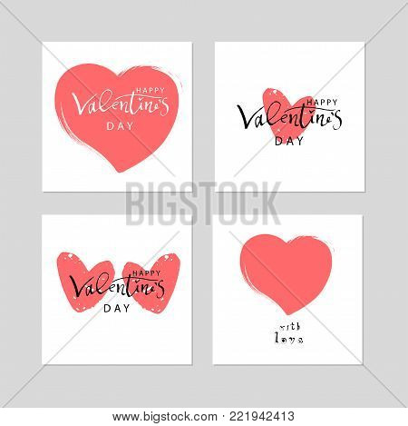 Abstract Calligraphy Hand Drawn Happy Valentine s Day Background. Trendy vector illustration of Saint Valentine s day