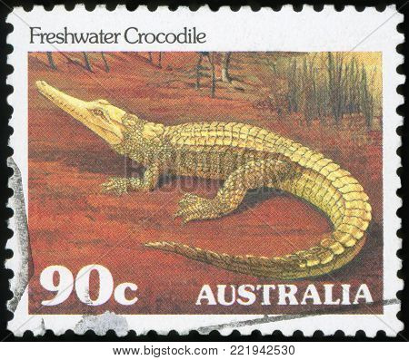 AUSTRALIA - CIRCA 1982:A Cancelled postage stamp from Australia illustrating Australian Reptiles, issued in 1982.