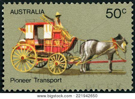 AUSTRALIA - CIRCA 1972: a stamp printed in the Australia shows Coach Transport, Australian Pioneer Life, circa 1972