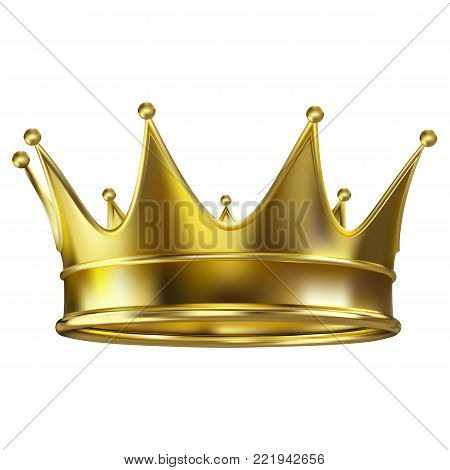 Colored realistic royal crown of gold. Royal gold crown shining realistic images set on white background closeup isolated vector illustration