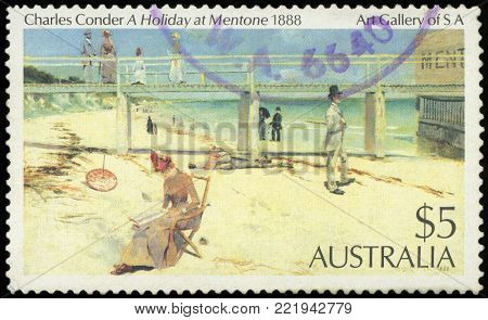 AUSTRALIA - CIRCA 1984: Postage stamp printed in Australia with image of a 1888 painting, A Holiday at Mentone, by Charles Conder from the Art Gallery of South Australia.