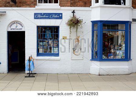 STRATFORD UPON AVON, UK - JULY 7, 2017: Outside The Peter Rabbit shop. Stratford upon Avon, Warwickshire, England, UK