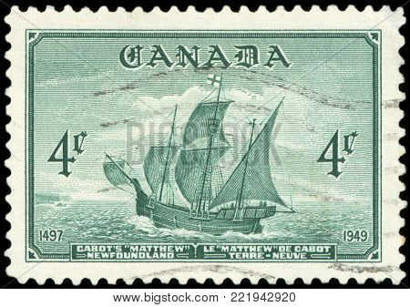 CANADA - CIRCA 1949: A stamp printed in Canada shows Cabot's