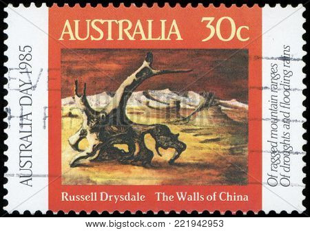 AUSTRALIA - CIRCA 1985:A Cancelled postage stamp from Australia illustrating Australia Day, issued in 1985.