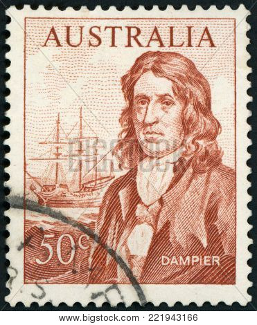 AUSTRALIA - CIRCA 1966: A used postage stamp from Australia, depicting an illustration of Explorer William Dampier, circa 1966.
