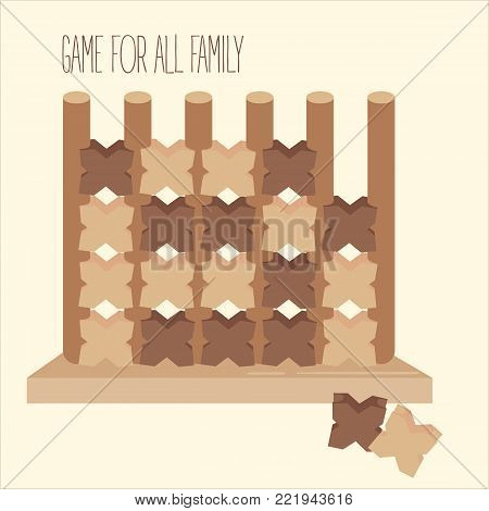 Wooden tic tac toe strategy board game. 2d toy. Criss-cross and zero on columns. Three in a row to win. Entertainment for family and children. Two people fun. Vector illustration