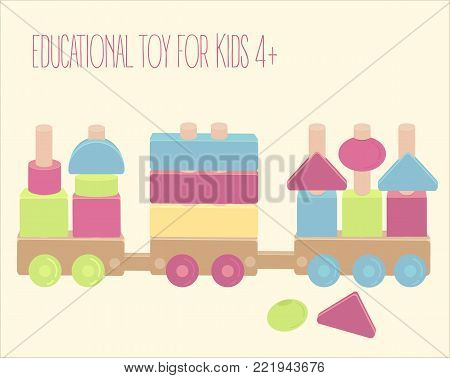 Wooden toy train with colorful blocks. Pegs and beads game. Vector illustration