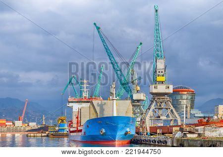 International sea transportation and logistics. Seaport in Batumi - cargo transportation vessels and assembly, reloading cranes. poster