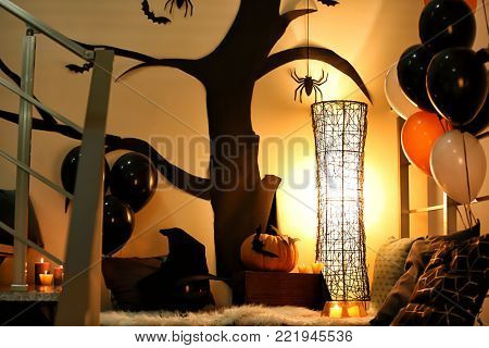 Cozy place for rest with decor for Halloween party indoors