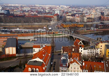 Panorama of Wroclaw, view of the river Odra