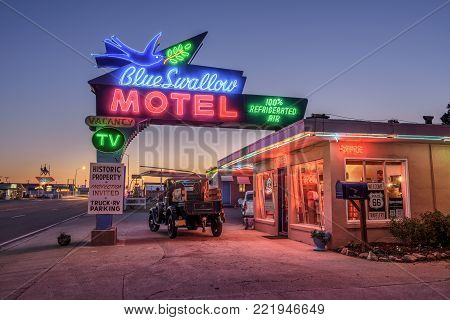 TUCUMCARI, NEW MEXICO, USA - MAY 13, 2016 : Historic Blue Swallow Motel at sunset This building is listed on the National Register of Historic Places in New Mexico as a part of historic U.S. Route 66.