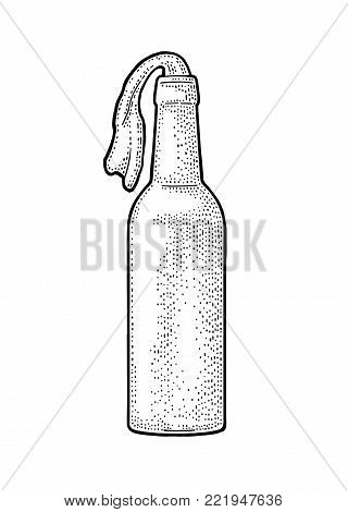 Molotov Cocktail. Glass bottle with gasoline and rag wick. Engraving vintage vector black illustration. Isolated on white background. Hand drawn design element for label and poster
