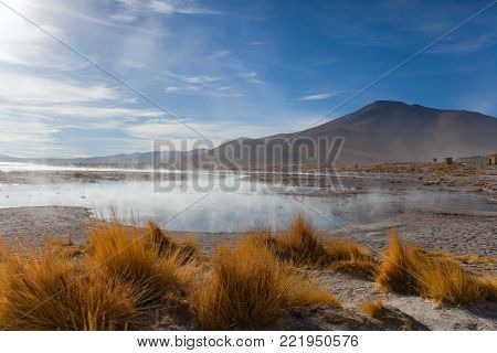 the lake is heated by a volcano at an altitude of five thousand meters above sea level in the Bolivian Alps Stock photo