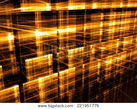 Golden background - abstract computer-generated image. Digital art: glowing in dark grid. Hi-tech or sci-fi concept backdrop or graphic design element.
