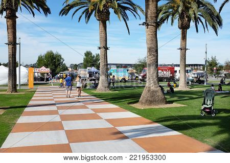 IRVINE, CA - JANUARY 14, 2018: Food Trucks and Farmers Market at the Orange County Great Park. The farmers market is held every Sunday.
