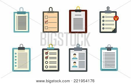 To do list icon set. Flat set of to do list vector icons for web design isolated on white background