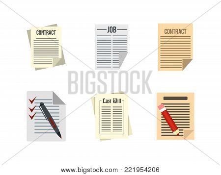 Contract paper icon set. Flat set of contract paper vector icons for web design isolated on white background