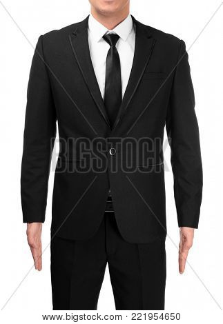 Handsome man in elegant suit on white background, closeup
