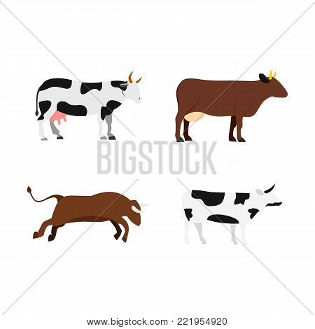 Cow icon set. Flat set of cow vector icons for web design isolated on white background