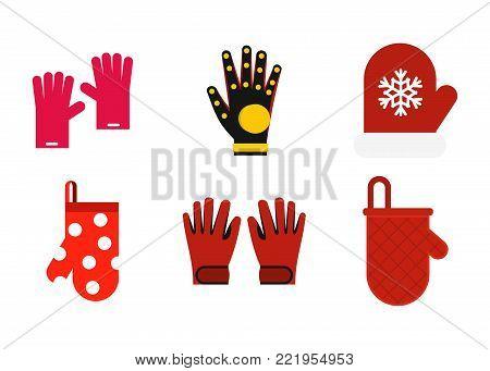 Gloves icon set. Flat set of gloves vector icons for web design isolated on white background