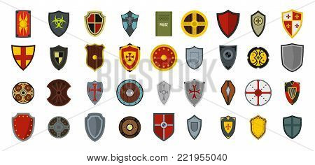 Shield icon set. Flat set of shield vector icons for web design isolated on white background