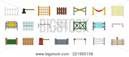 Barrier icon set. Flat set of barrier vector icons for web design isolated on white background