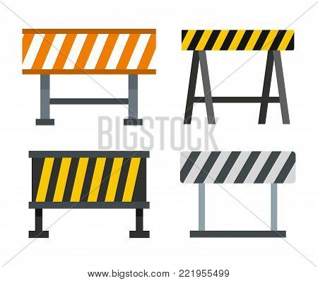 Road barrier icon set. Flat set of road barrier vector icons for web design isolated on white background