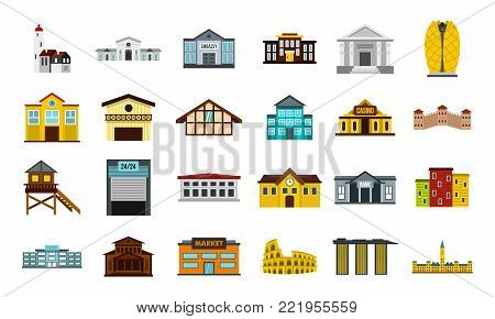 Buildings icon set. Flat set of buildings vector icons for web design isolated on white background