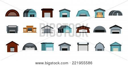 Warehouse icon set. Flat set of warehouse vector icons for web design isolated on white background